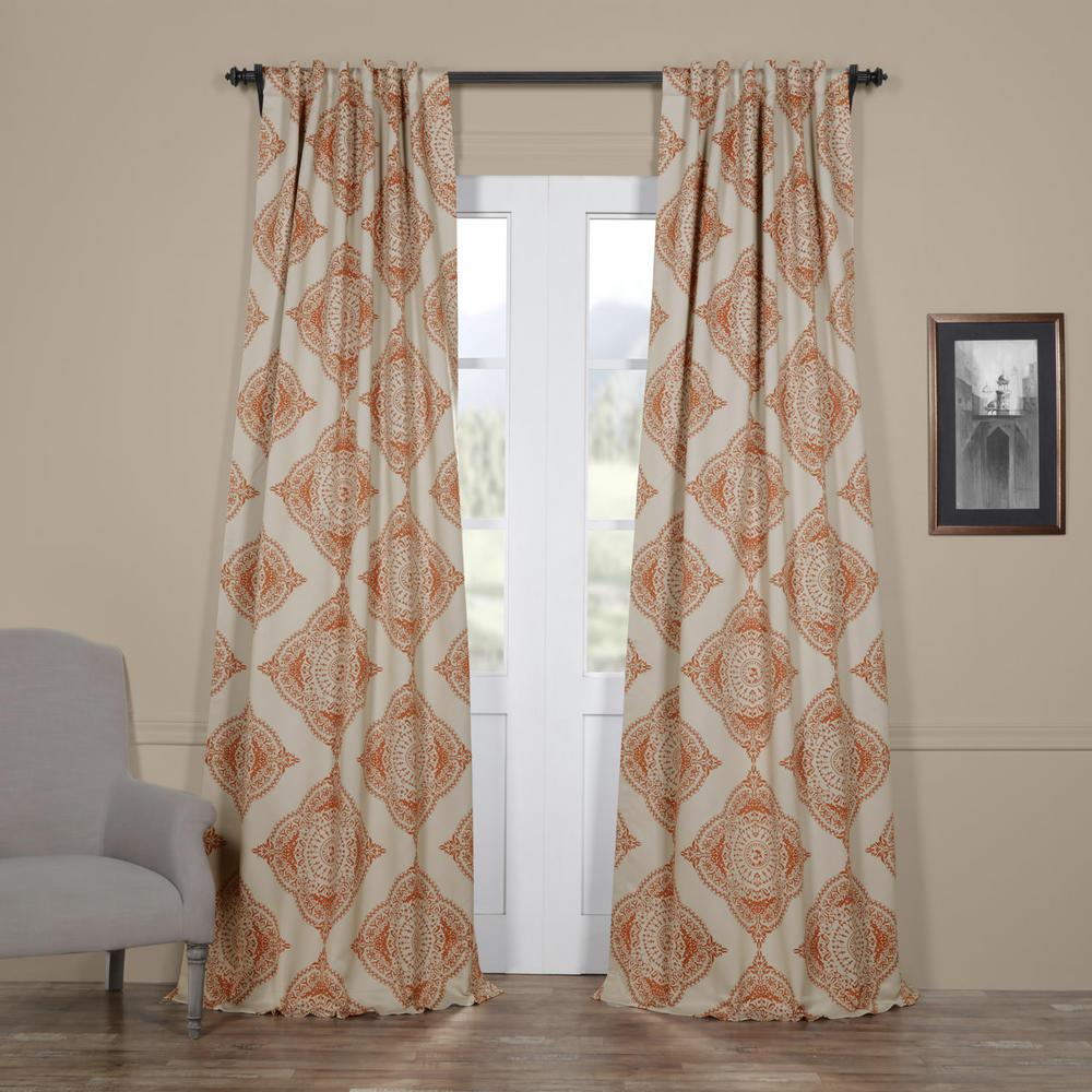Semi-Opaque Henna Orange Blackout Curtain - 50 in. W x 108