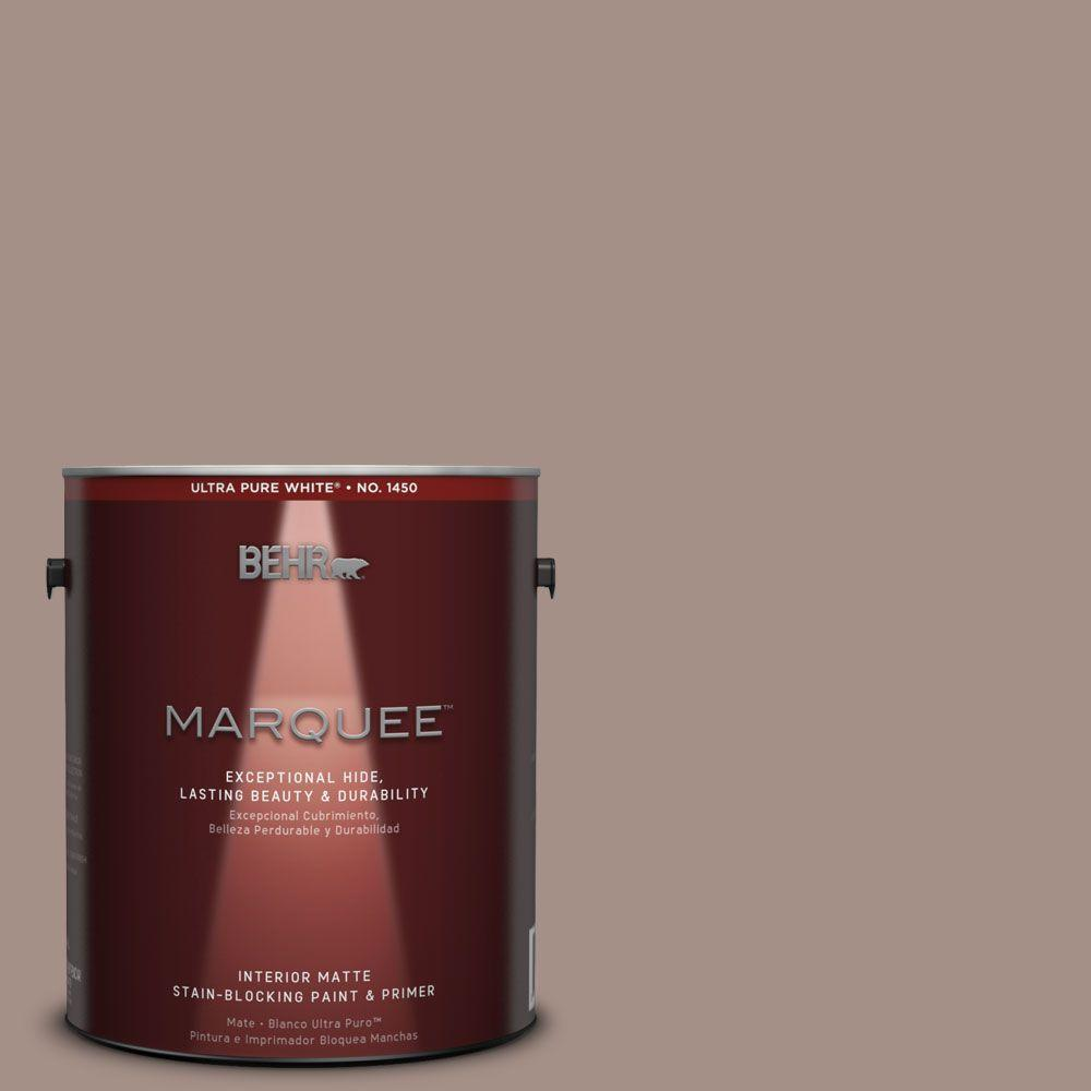 BEHR MARQUEE 1 gal. #MQ2-33 Parisian Cafe One-Coat Hide Matte Interior Paint