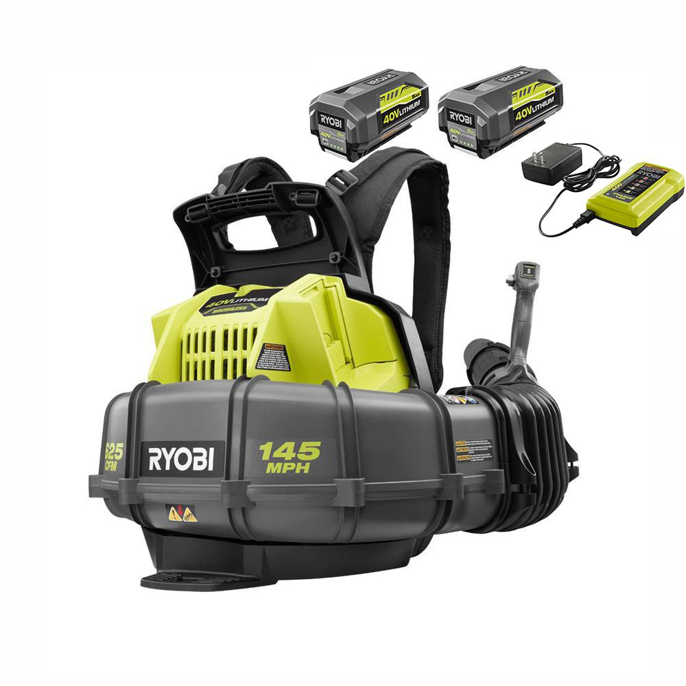 RYOBI 145 MPH 625 CFM 40-Volt Lithium-Ion Cordless Backpack Blower, Two 5.0 Ah Batteries and Charger Included