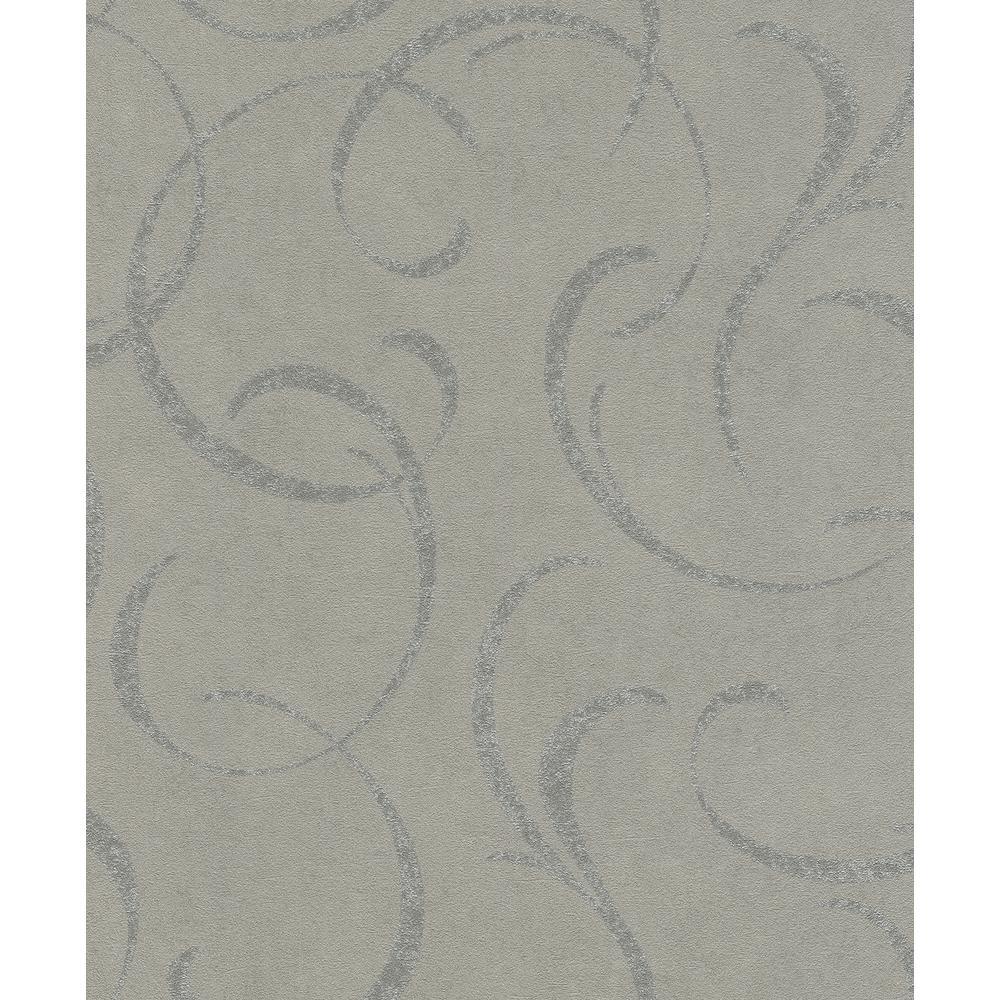 Lysander Grey Scrolls Wallpaper Sample
