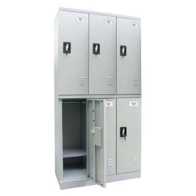 36 in. W x 72 in. H x 18 in. D Quick Assembly Double Tier Triple Wide Locker in Dove Gray
