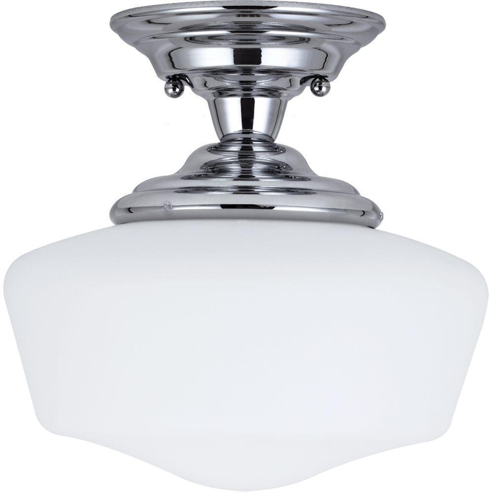 Sea Gull Lighting Academy 1-Light Chrome Semi-Flush Mount Light