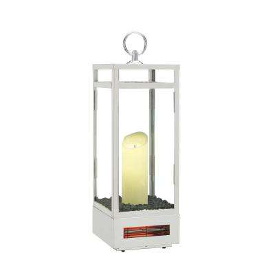 1,500-Watt 29 in. LED Electric Flameless Candle Lantern with Infrared Quartz Heater in Polished Stainless Steel