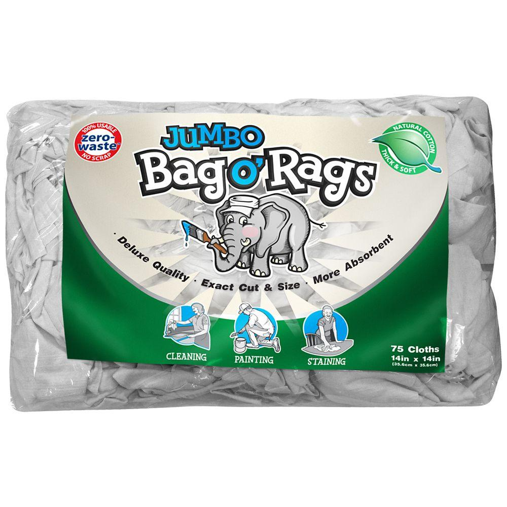 null 75-Count 14 in. x 14 in. Zero Waste Jumbo Bag O' Rags (2-Pack)