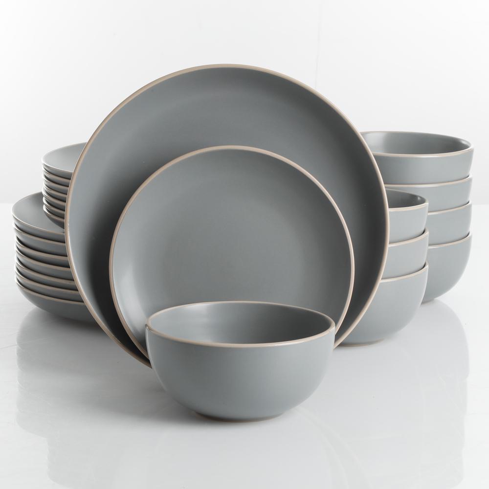 Rockaway 24-Piece Modern Matte Grey Ceramic Dinnerware Set (Service for 8)