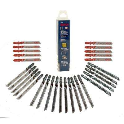 T-Shank Jig Saw Blade Set for Cutting Wood and Metal (30-Piece)