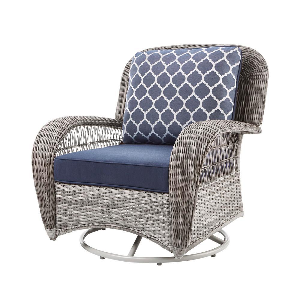 Beacon Park Gray Wicker Outdoor Patio Swivel Lounge Chair with CushionGuard Midnight Trellis Navy Blue Cushions