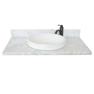 Ragusa III 37 in. W x 22 in. D Marble Single Basin Vanity Top in White with White Round Basin
