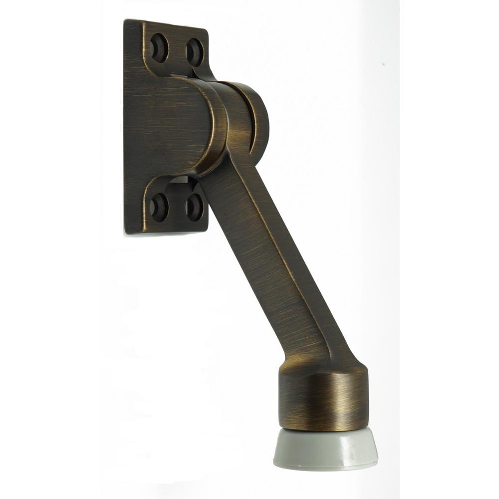 Solid Brass Square Kick Down Door Stop in Antique - 4-1/2 In. Solid Brass Square Kick Down Door Stop In Antique Brass