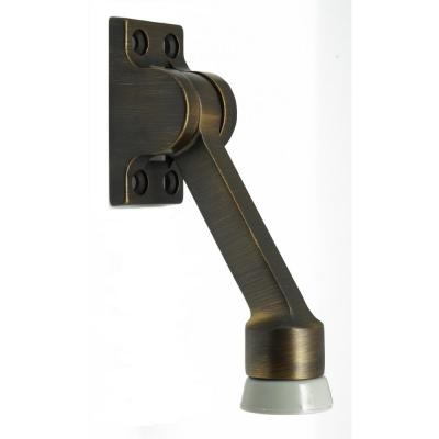 4-1/2 in. Solid Brass Square Kick Down Door Stop in Antique Brass