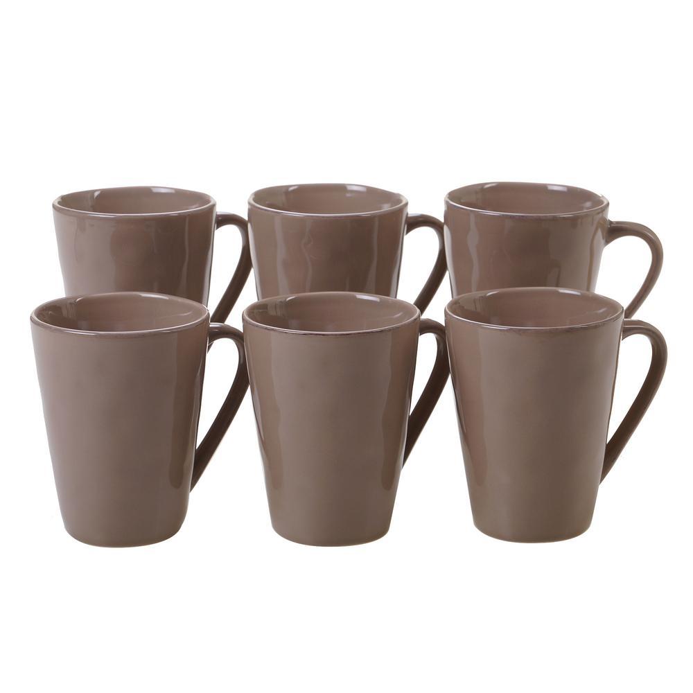 Harmony 6-Piece Taupe 15 oz. Mug Set
