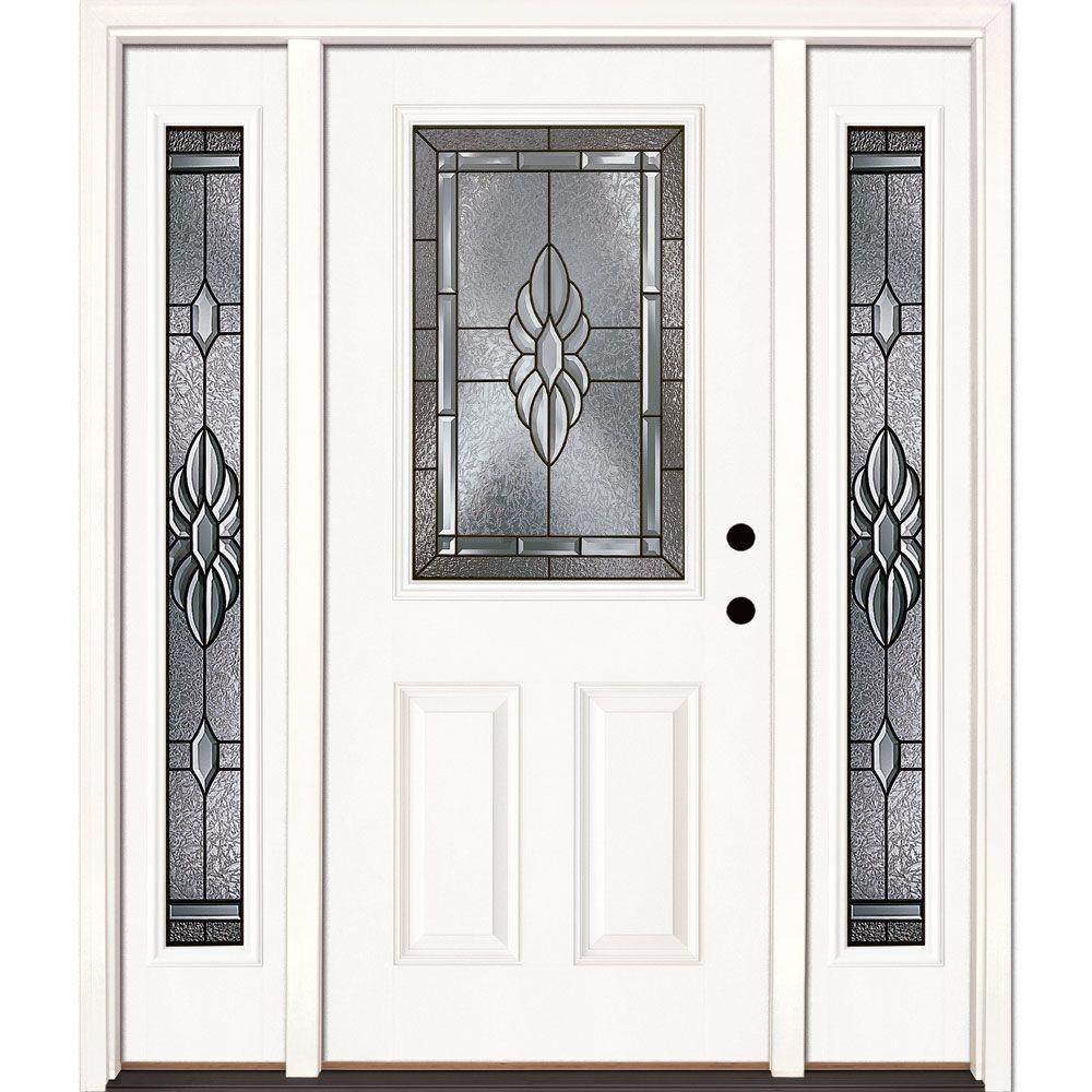 Feather River Doors 67.5 in. x 81.625 in. Sapphire Patina 1/2 Lite Unfinished Smooth Left-Hand Fiberglass Prehung Front Door with Sidelites