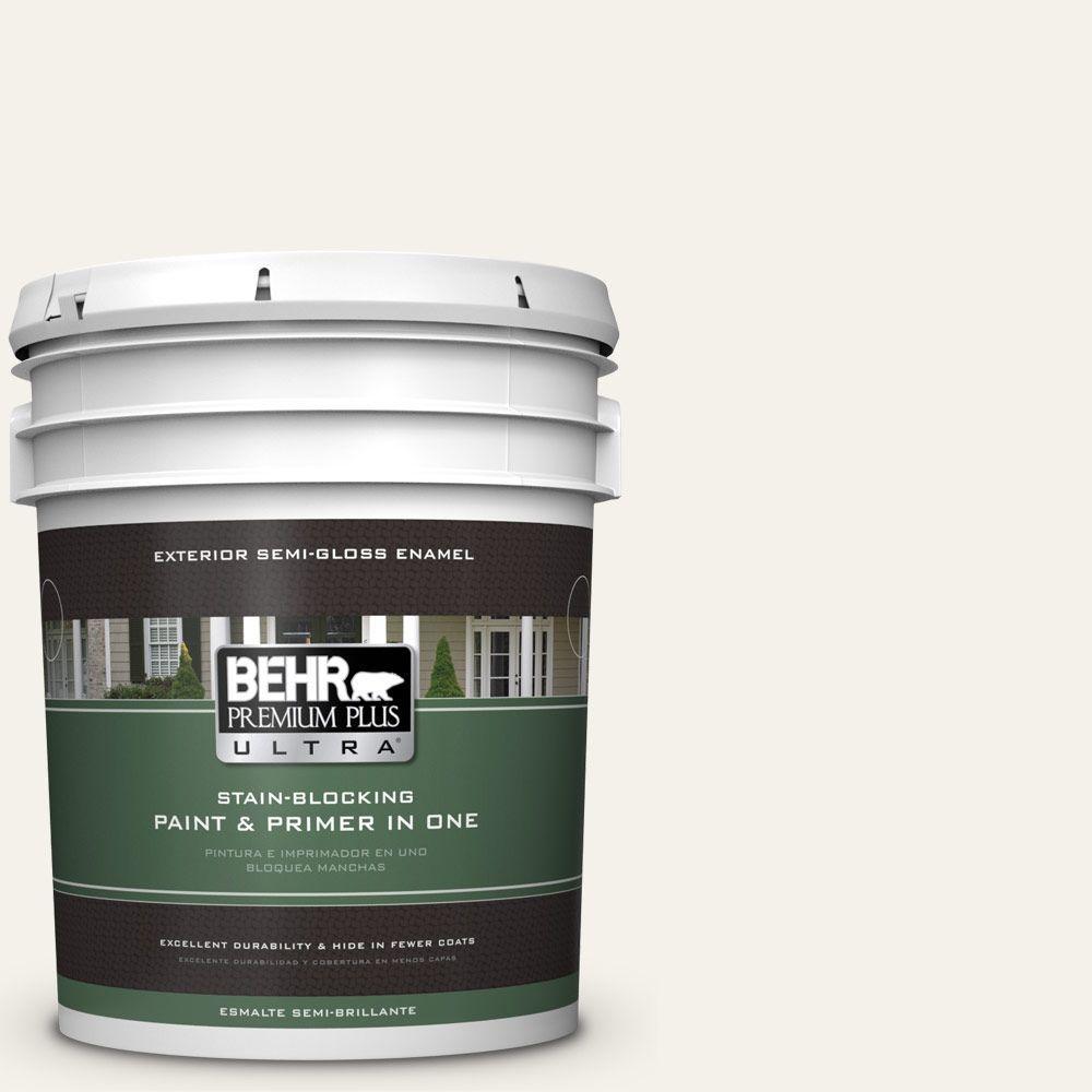 BEHR Premium Plus Ultra 5-gal. #PWN-50 Snowy Egret Semi-Gloss Enamel Exterior Paint