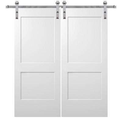 64 In X 80 Smooth Monroe Primed Composite Double Barn Door With Stainless