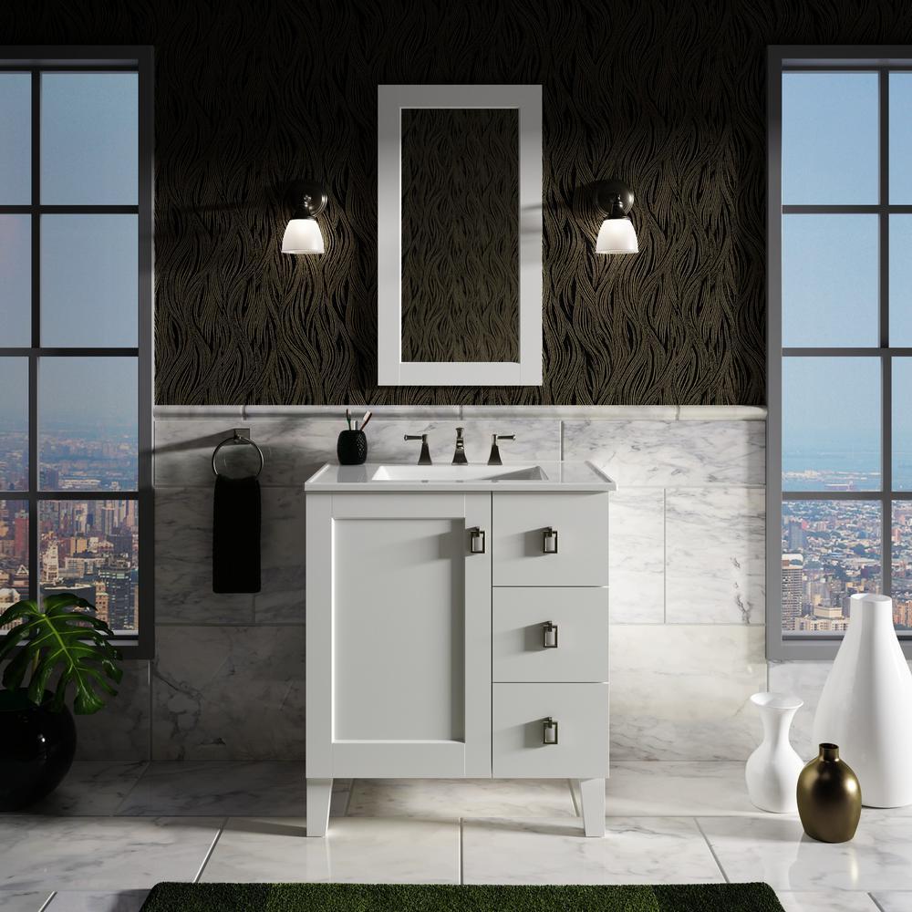 Poplin 30 in. Vanity in Linen White with Vitreous China Vanity Top in White