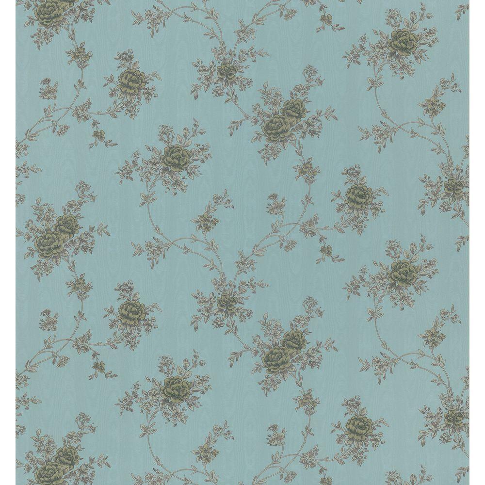 Brewster 56 sq. ft. Morie Floral Wallpaper