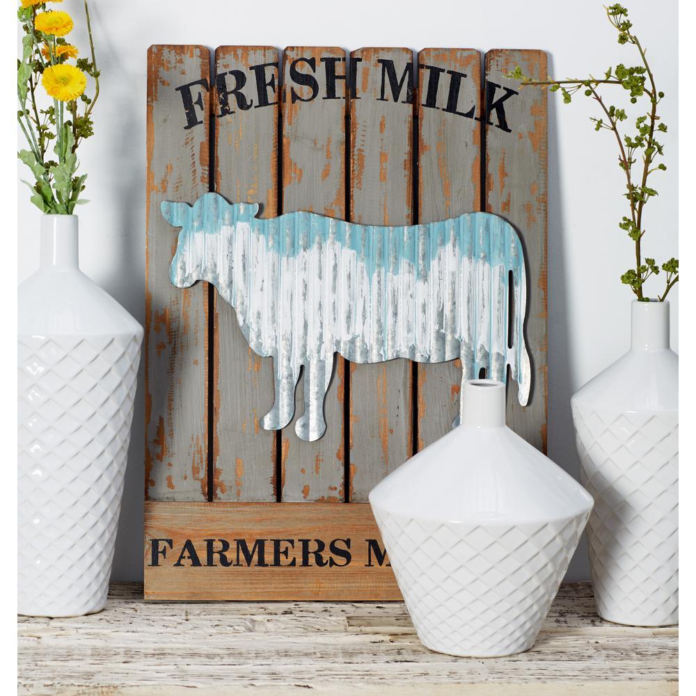 """22 in. x 16 in. """"Farmer's Market"""" Slatted Wood Wall Art (Set of 2)"""