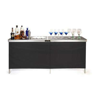 78 in. L x 15 in. W x 36 in. H Portable Bar Table - 2 Skirts and Carrying Case Included - (Black and Green Skirts)