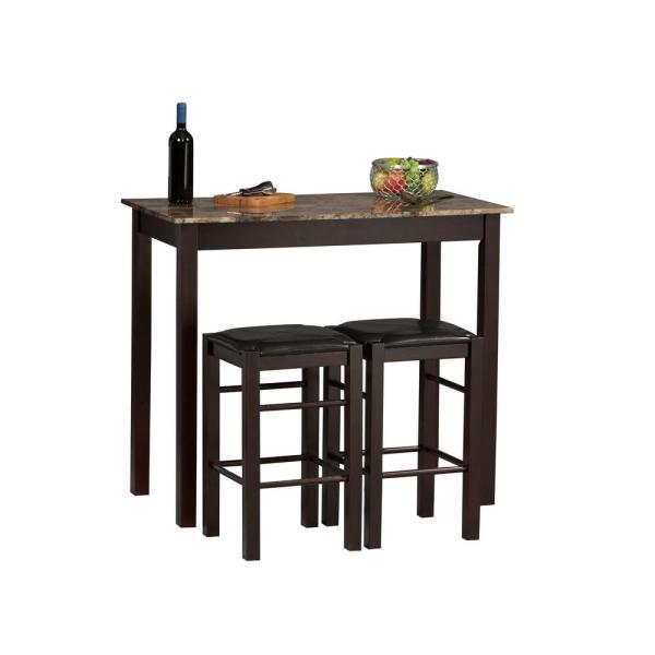 Tavern 3 Piece Espresso Bar Table Set