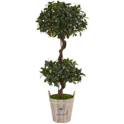 Indoor Sweet Bay Double Topiary Artificial Tree in Farmhouse Planter