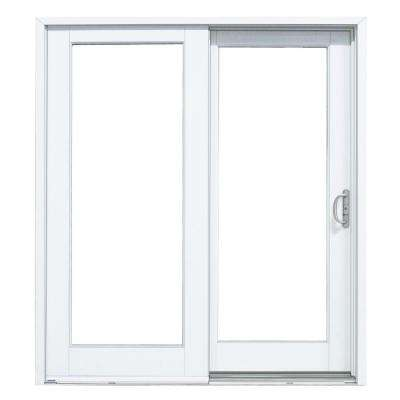 60 in. x 80 in. Woodgrain Interior and Smooth White Right-Hand Composite DP50 Sliding Patio Door