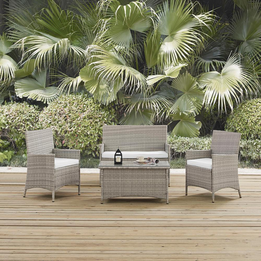 MODWAY Bridge 4-Piece Wicker Outdoor Patio Conversation Set in Light Gray with White Cushions
