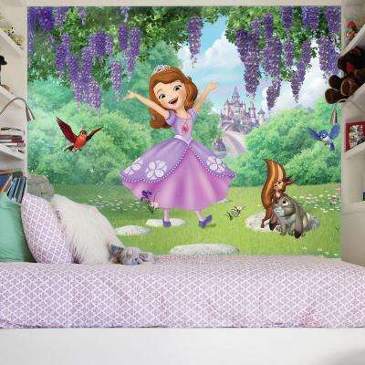72 in. W x 126 in. H Sofia the First Friends Garden XL Chair Rail 7-Panel Prepasted Wall Mural