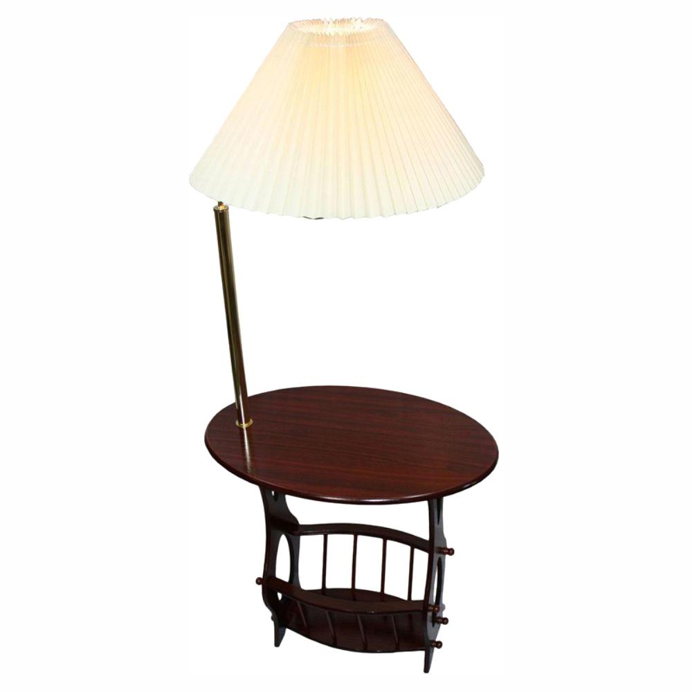 Ore International 52 25 In Cherry Br Floor Lamp End Table Magazine Rack Combination