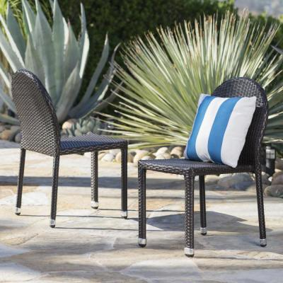 Otto Multi-Brown Stackable Wicker Outdoor Dining Chair (2-Pack)