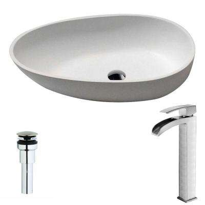 Trident 1-Piece Man Made Stone Vessel Sink in Matte White with Key Faucet in Brushed Nickel