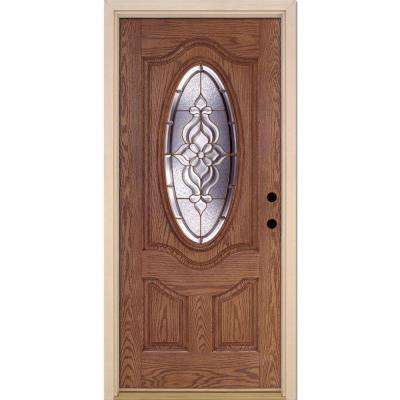 37.5 in. x 81.625 in. Lakewood Brass 3/4 Oval Lite Stained Medium Oak Left-Hand Inswing Fiberglass Prehung Front Door