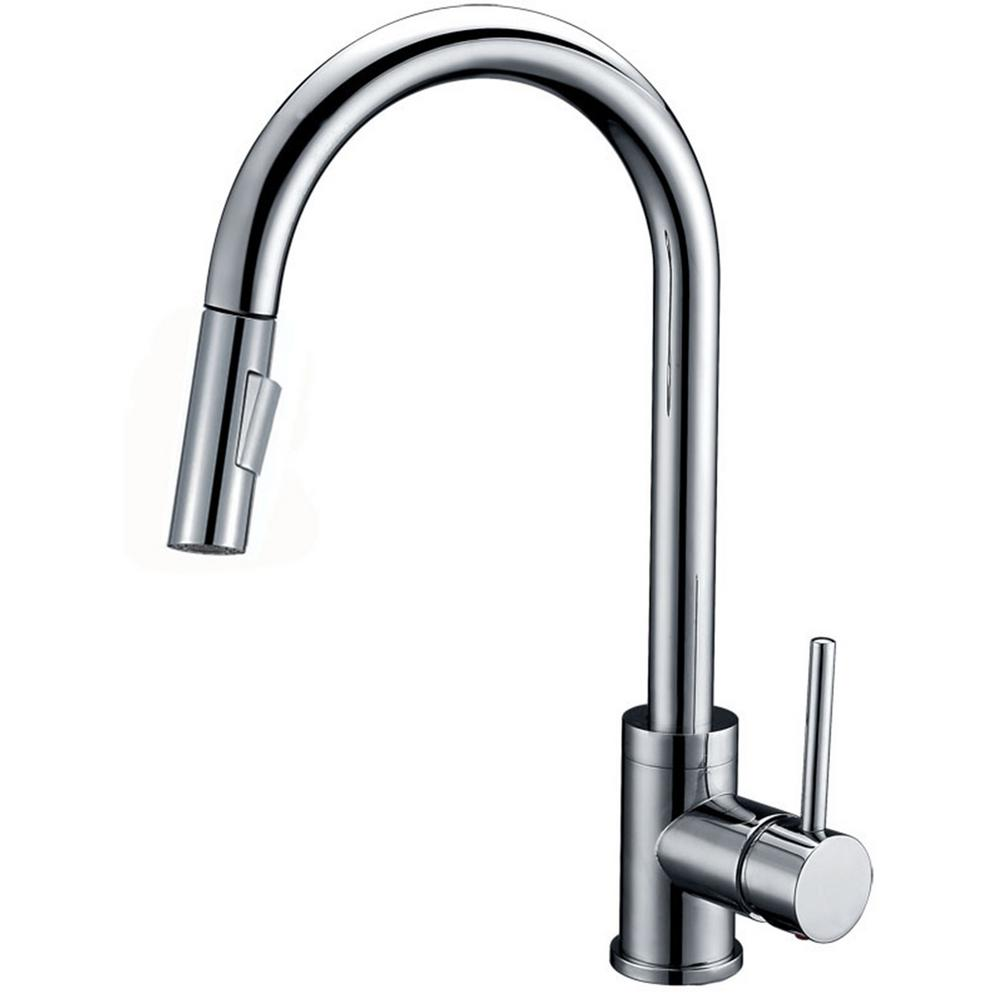 Y Decor Luxurious Single-Handle Pull-Out Sprayer Kitchen Faucet in Brushed Nickel Finish