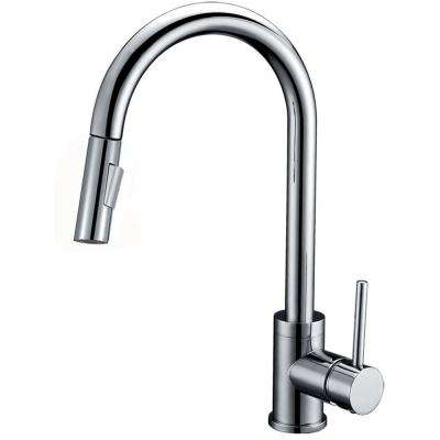 Luxurious Single Handle Pull Out Sprayer Kitchen Faucet In Brushed Nickel Finish