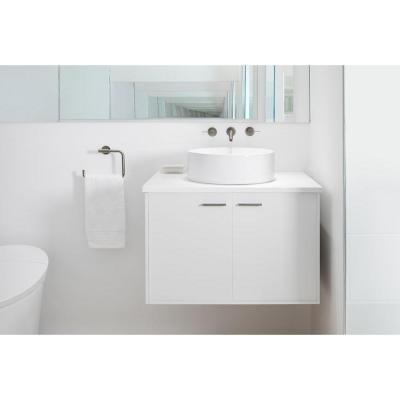 Jute 30 in. Vanity in Linen White with Vitreous China Vanity Top in White
