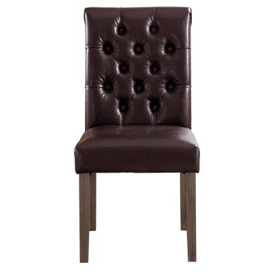 Valence Brown Synthetic Leather Button Tufting Dining Accent Chair Set of 2