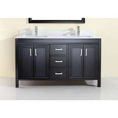 Dawlish 60 in. W x 22 in. D Vanity in Espresso with Solid Surface Vanity Top in White with White Basin