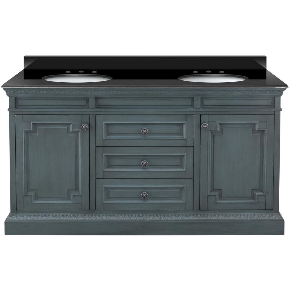 Bath Vanity In Distressed Blue Fog With Granite Top Black White Sinks