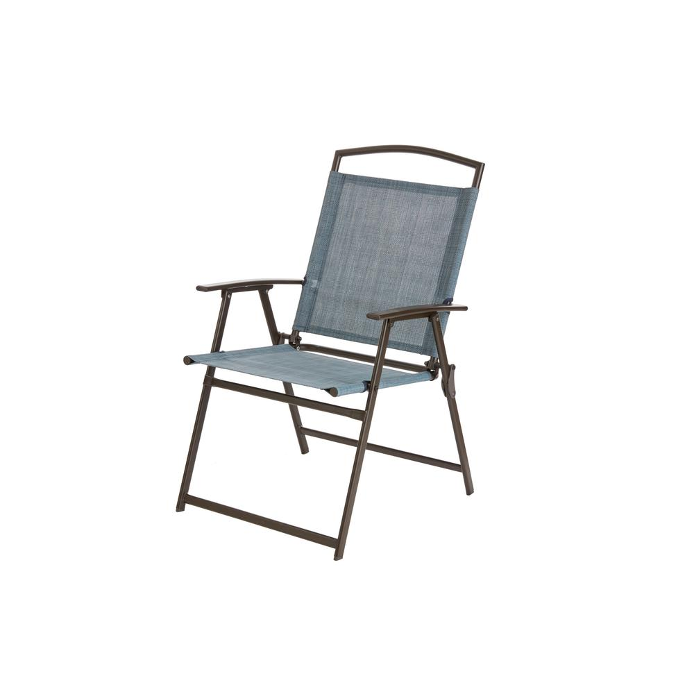 Hampton Bay Mix And Match Dark Brown Folding Outdoor Dining Chair In Non Padded Denim
