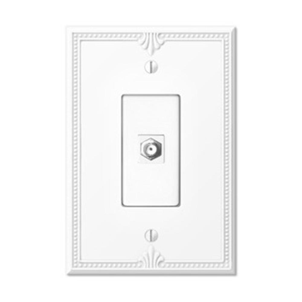 Creative Accents Richmond 1-Gang Video Connector Wall Plate - White-DISCONTINUED