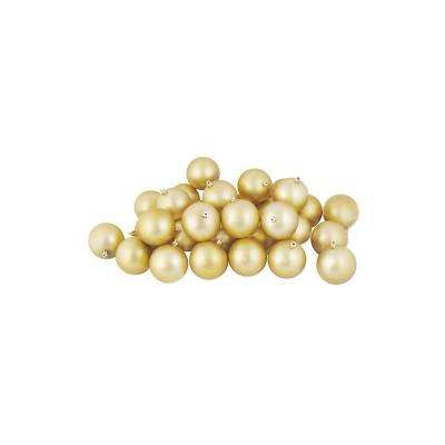 3.25 in. (80 mm) Shatterproof Matte Champagne Gold Christmas Ball Ornaments (32-Count)