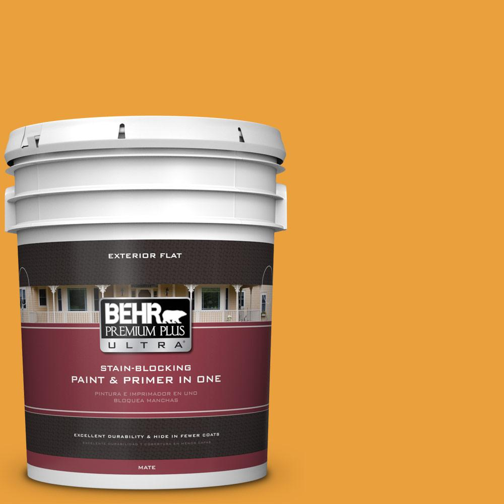 5 gal. #HDC-FL14-5 Gilded Leaves Flat Exterior Paint