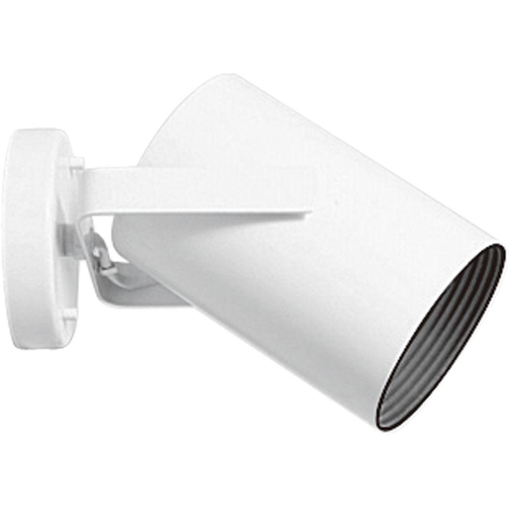 Progress Lighting 1-Light White Spotlight Fixture Metal cylinder style light with integral swivel to provide accent or task lighting. Install as a ceiling or wall mount fixture.