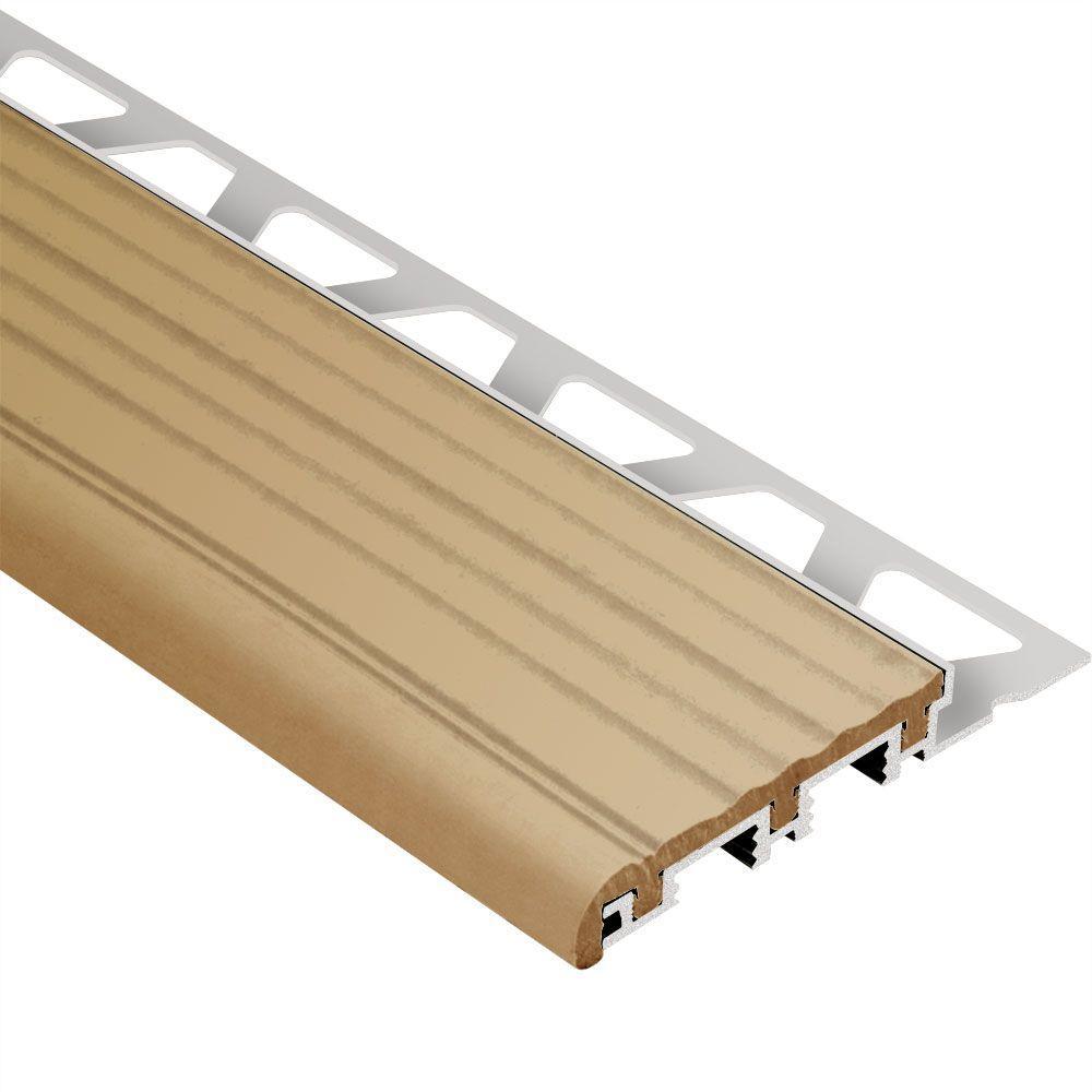 Trep-B Aluminum with Light Beige Insert 3/8 in. x 8 ft. 2-1/2 in. Metal Stair Nose Tile Edging Trim