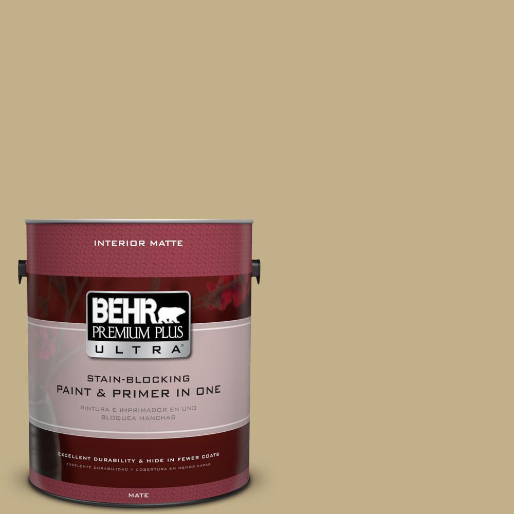 BEHR Premium Plus Ultra 1 gal. #380F-5 Harmonic Tan Flat/Matte Interior Paint