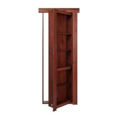 30 in. x 80 in. Flush Mount Assembled Oak Cherry Stained Left-Hand Inswing Solid Core Interior Bookcase Door