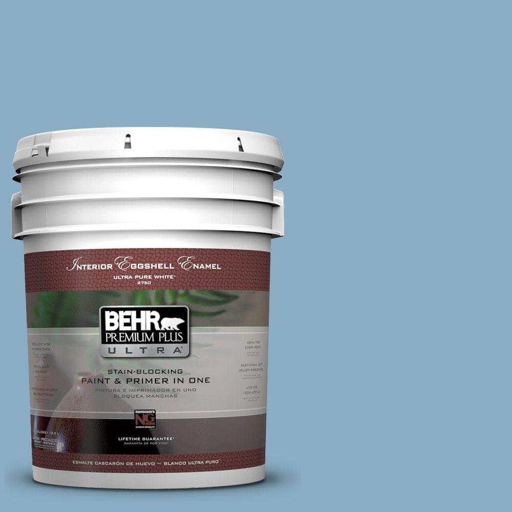 BEHR Premium Plus Ultra 5-gal. #S500-4 Chilly Blue Eggshell Enamel Interior Paint