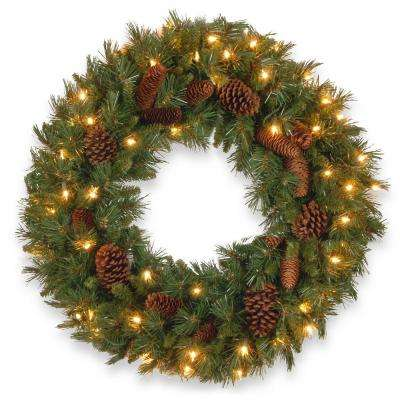 24 in. Pine Cone Artificial Wreath with Clear Lights