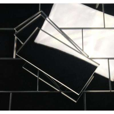 Reflections Silver Straight Edge 3 in. x 6 in. Glass Mirror Subway Wall Tile (14 sq. ft. / case)