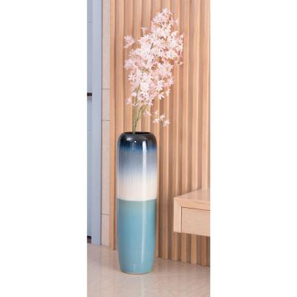 31.5 in. Tricolor Hand Painted Ceramic Handmade Floor Vase