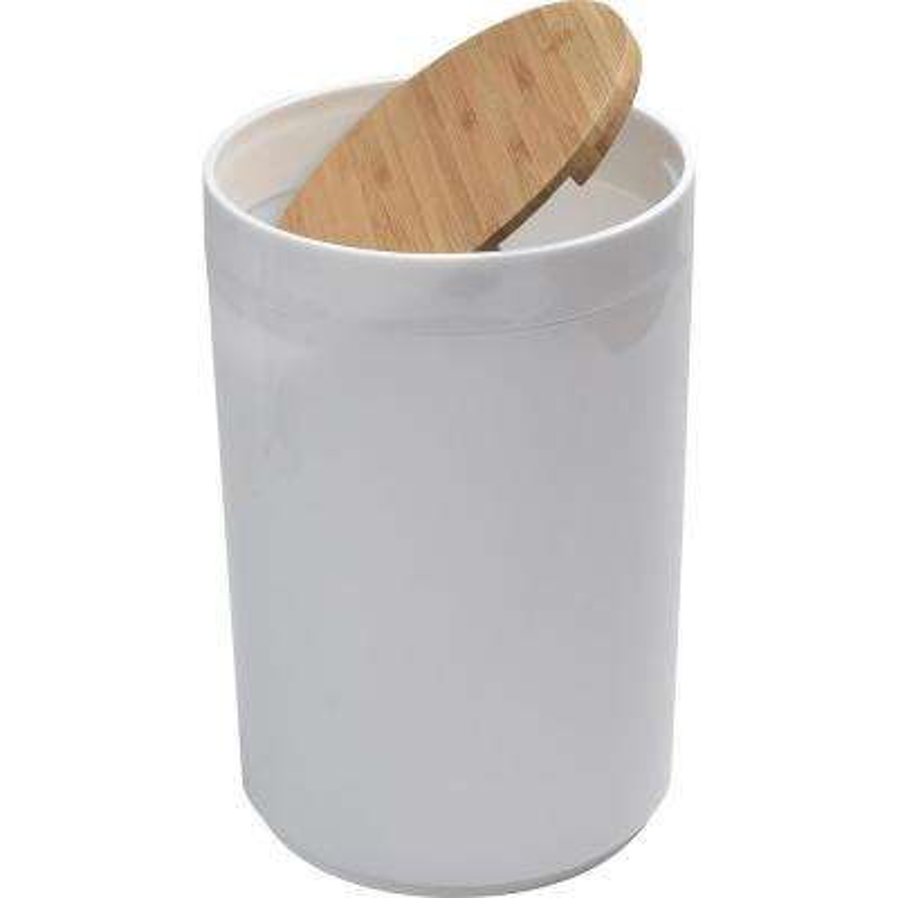 5 l/1.3 Gal. Round Bath Floor Trash Can Padang Waste Bin Bamboo Top Swing Lid and Plastic